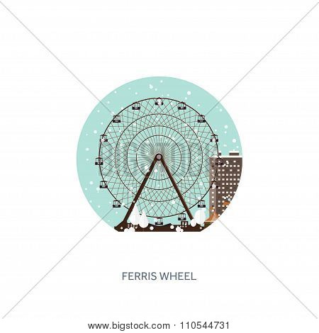 Vector illustration. Ferris wheel. Winter carnival. Christmas, new year. Park with snow. Roller coas