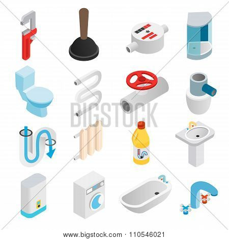 Sanitary engineering isometric 3d icons