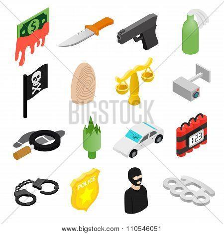 Crime isometric 3d icons