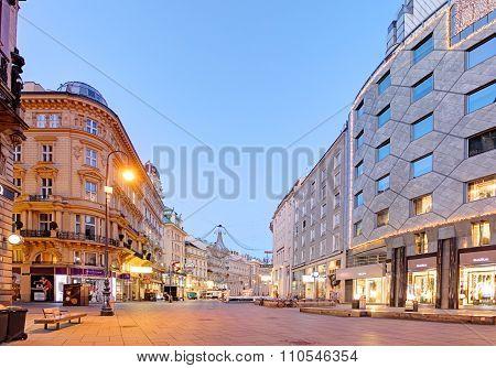 Vienna, Austria, December 1, 2015: Hole Trinity Column And Graben Street Of Vienna In Austria With C