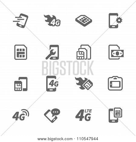 Simple Sim Card Icons