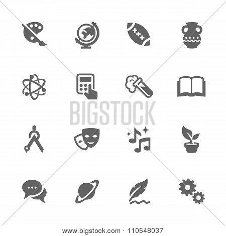 Simple School Subject Icons.