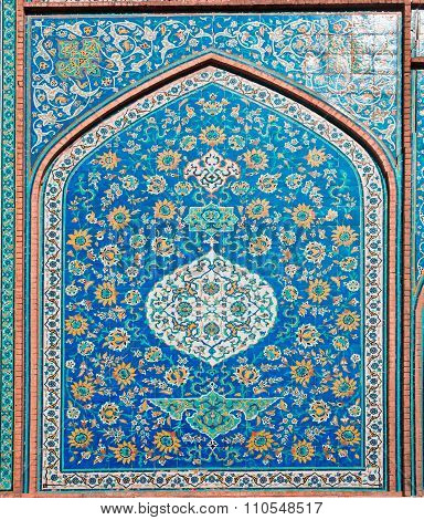 Colorful Patterned Wall With Tiles Of Historical Building In Iran