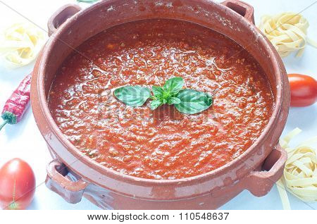 Tomato Sauce In A Clay Pot
