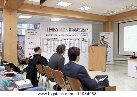 ST. PETERSBURG, RUSSIA - NOVEMBER 13, 2015: Creator of Eiffel programming language Bertrand Meyer at the conference Tools & Methods of Program Analysis in the Saint-Petersburg Polytechnic University
