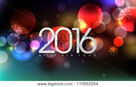 eps10 vector 2016 new years eve party occasion annual holiday greetings, bokeh defocused flare lights effect abstract background