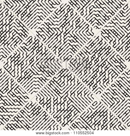 Vector Seamless Black And White Rounded Rhombus Pavement Filled With Maze Lines Pattern
