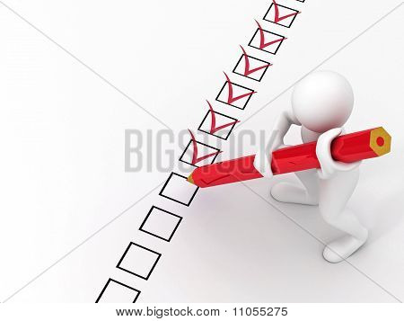 Men With Red Pen On Questionnaire