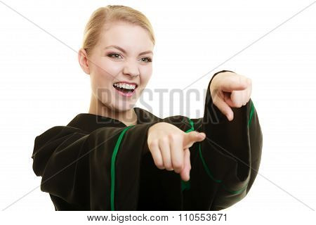 Happy Woman Lawyer Pointing With Finger