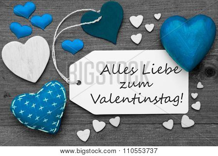 Black And White Label, Blue Hearts, Valentinstag Means Valentines Day