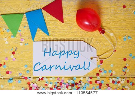 Party Label With Balloon, Text Happy Carnival