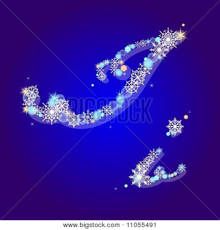 Vector Winter Alphabet With Snowflakes Letter Ih Snowflakes Letter I
