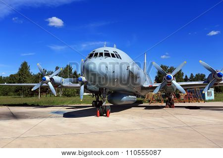 MOSCOW REGION  -   JUNE 13: Four-engine piston aircraft on the parking lot at the airbase on June 13, 2015 in Moscow region