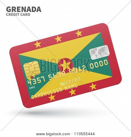 Credit card with Grenada flag background for bank, presentations and business. Isolated on white