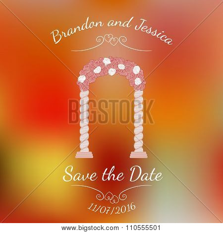 Romantic arc door of pink rose over abstract colorful blurred vector background.