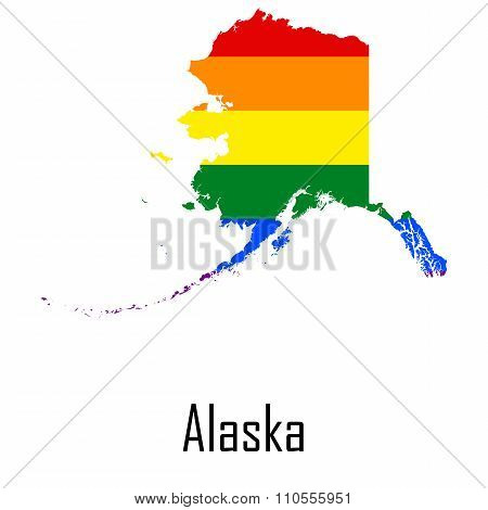 Vector Rainbow Map Of Alaska In Colors Of Lgbt - Lesbian, Gay, Bisexual, And Transgender - Pride Fla
