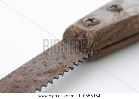 Saw / Old Handsaw Isolated - Vintage Tools / Dirty Gardening Tool