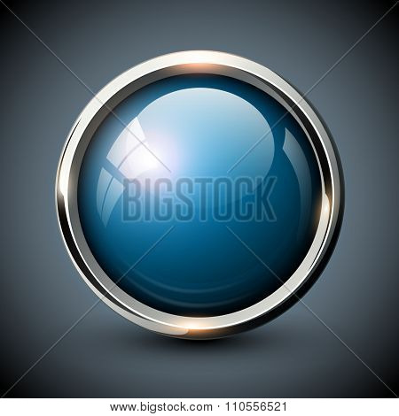 Blue shiny button with metallic elements, vector glossy design for website.