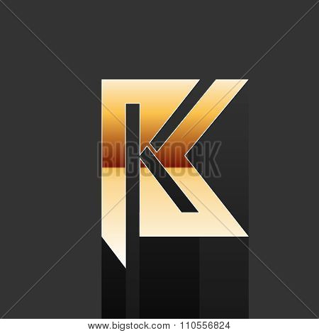Vector Gold Letter K Shape Logo Element