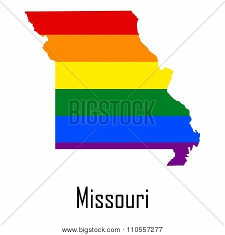 Vector Rainbow Map Of Missouri In Colors Of Lgbt - Lesbian, Gay, Bisexual, And Transgender - Pride F