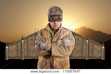 Steampunk  superhero wearing glasses. Post-apocalypse fantasy