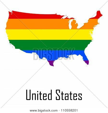 Vector Rainbow Map Of United States In Colors Of Lgbt - Lesbian, Gay, Bisexual, And Transgender - Pr