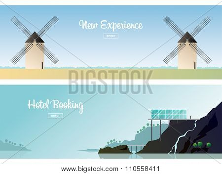 Two horizontal banners. Windmills in the field. Old Europe. The hotel is on the coast. Apartment rent. Norway