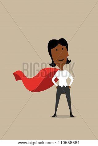 Hero cartoon businesswoman in red cape