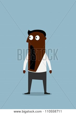 Shocked cartoon businessman with open mouth