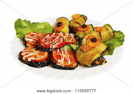 Braised Zucchini And Eggplant Isolated