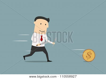 Cartoon businessman pursuing a golden coin