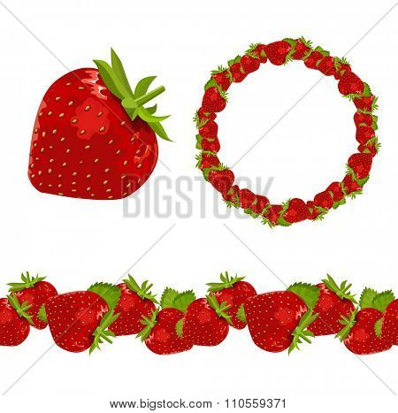 Strawberry. Object,garland and border