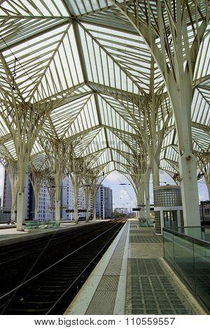 Incredible train station in Lisbon, Portugal in Oriente