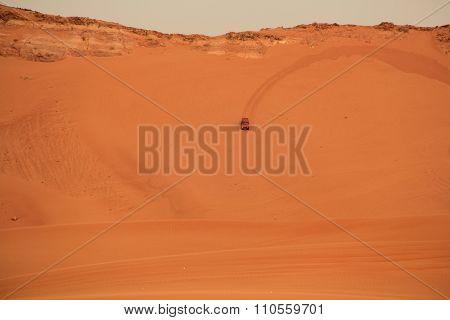 Car in arabian desert