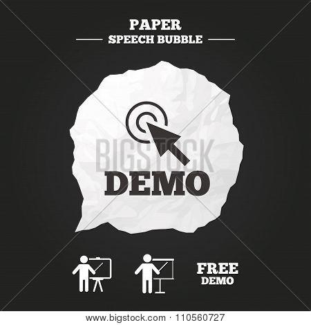 Demo with cursor icon. Presentation billboard