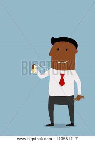 Happy businessman using a deodorant for body care