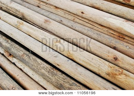 Pile Of Wood In Logs Storage Closeup
