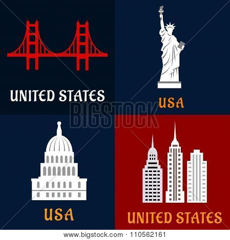 United State landmark and travel flat icons