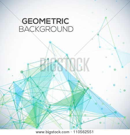 Vector background with polygonal abstract shapes, circles, lines, triangles