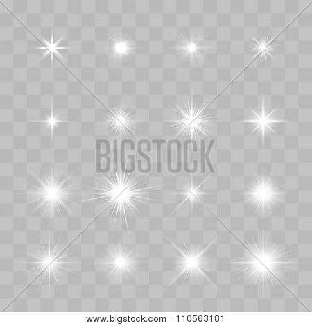 Set of Vector glowing light effect stars bursts with sparkles on transparent background. Transparent stars