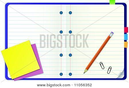 blue notebook vector illustration