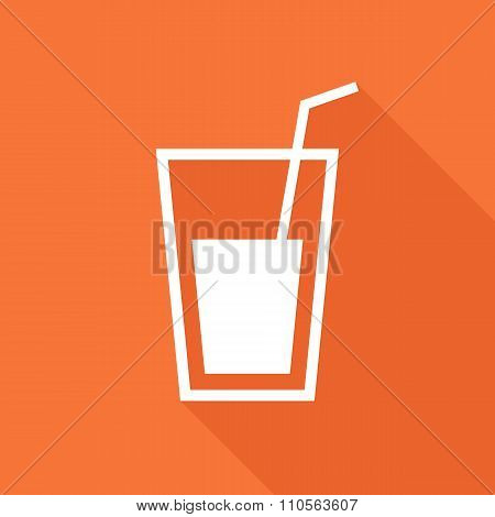 Glass with straw icon, modern minimal flat design style vector illustration, drinking glass symbol