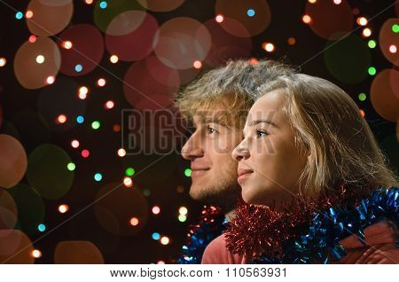Christmas love couple portrait
