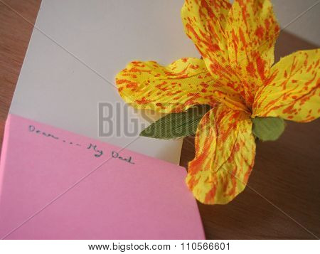 Handmade Yellow Canna Flower, Note To Daddy