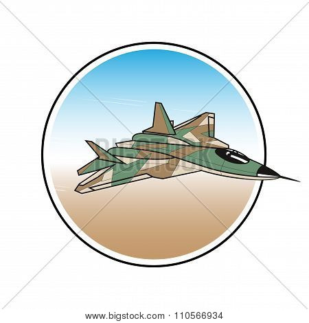 Warplane Label. Attacking Fighter In The Sky
