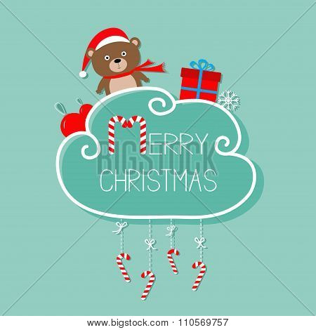 Bear In Santa Hat, Giftbox, Snowflake, Ball. Merry Christmas Card. Hanging Candy Cane. Dash Line Wit
