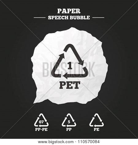 PET, PP-pe and PP. Polyethylene terephthalate