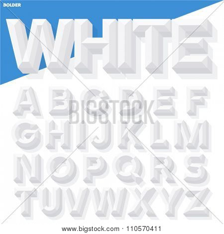 Vector 3D white simple bold beveled alphabet with shadow. Simple colored version.