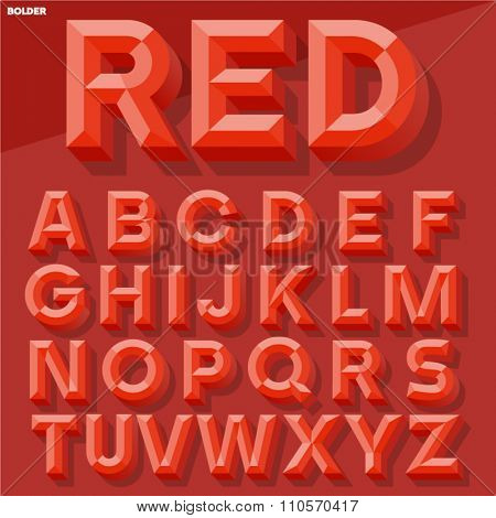 Vector 3D red simple bold beveled alphabet with shadow. Simple colored version.