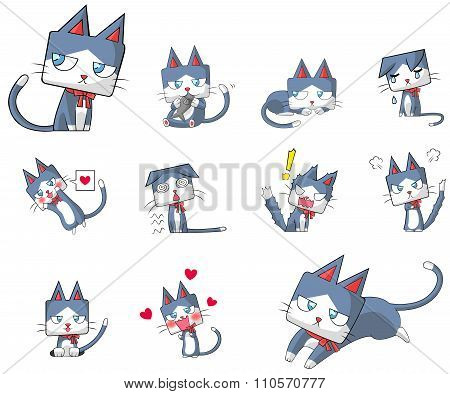 Cute And Funny Cartoon Kitten Cat Character Mascot With Ribbon Collar In Various Action And Expressi